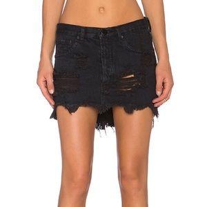 ONE X One Teaspoon Junkyard Destroyed Mini Skirt
